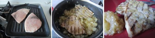 pesce spada con salsa di pere_procedimento4