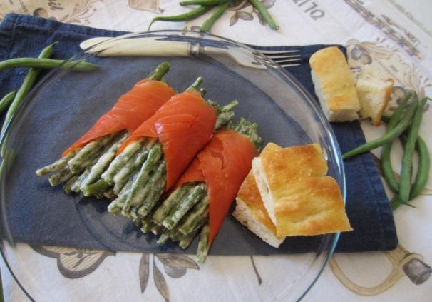 fagiolini con aglio e salmone_