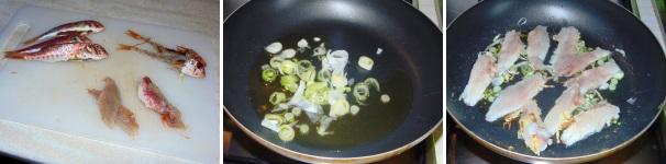 pasta con triglie e fiori di zucca_proc2