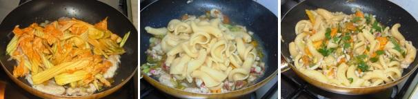 pasta con triglie e fiori di zucca_proc3