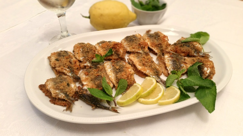sardine gratinate al profumo di menta e limone