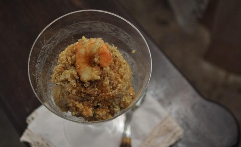 quinoa con gamberi e ceci