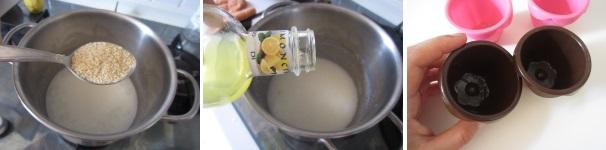 preparazione budino al latte di cocco