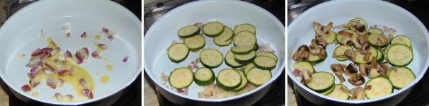 preparazione petto di pollo con funghi e zucchine
