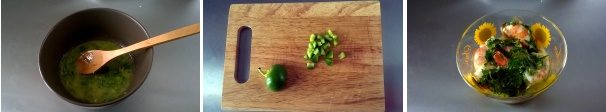 gamberoni in salsa verde preparazione