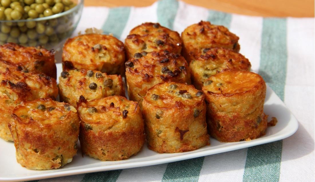 muffin salati con riso e piselli