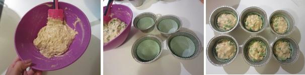 muffin piselli e cheddar procedimento