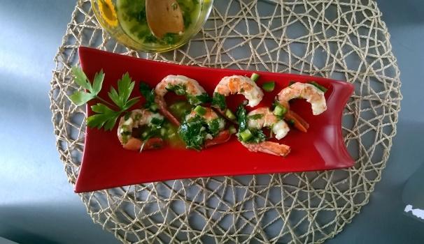 gamberoni in salsa verde