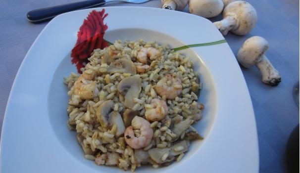 Risotto con champignon e gamberetti