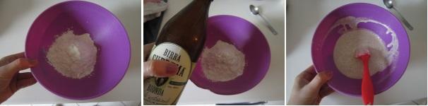 Anelli di cipolla in pastella di birra procedimento