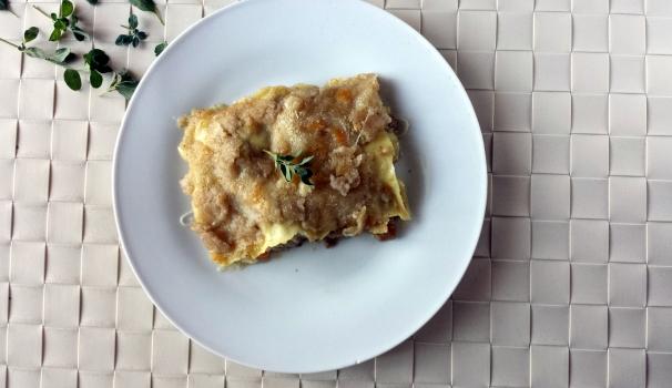 lasagna con ragù bianco e porcini