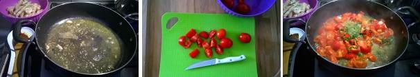linguine canocchie e ciliegini preparazione