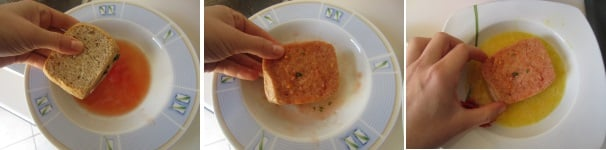 Cotoletta di pane integrale con acqua di pomodoro