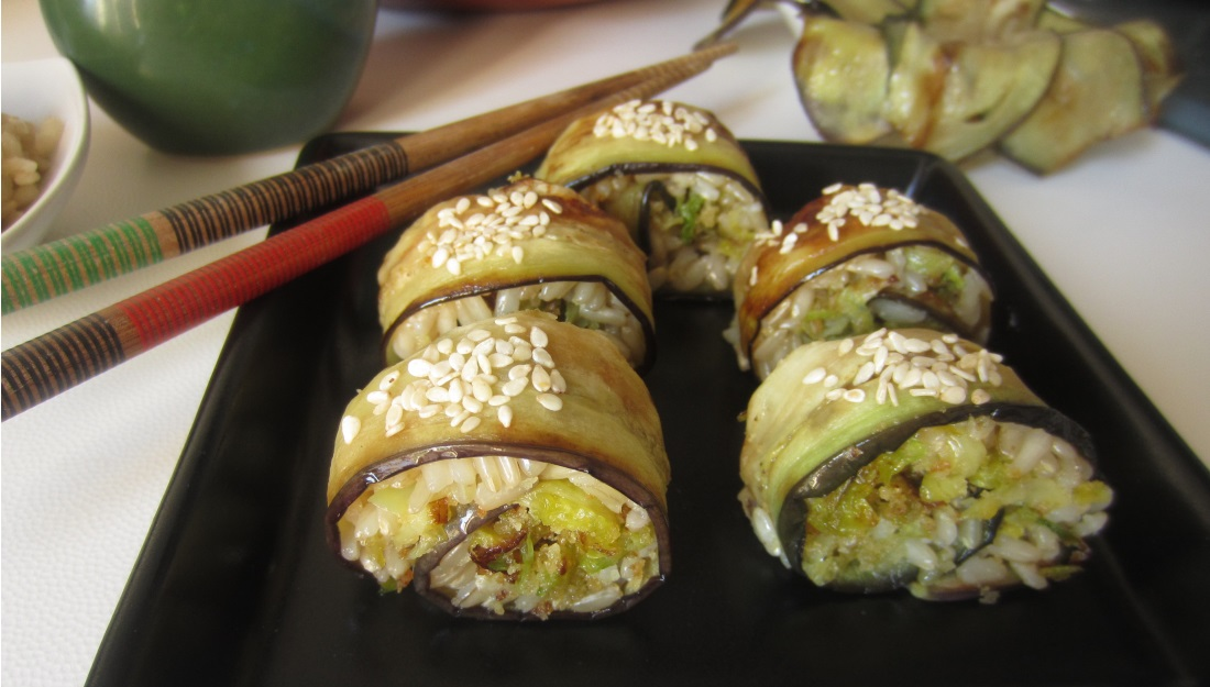 Maki-di-melanzane-e-riso-vegetariane