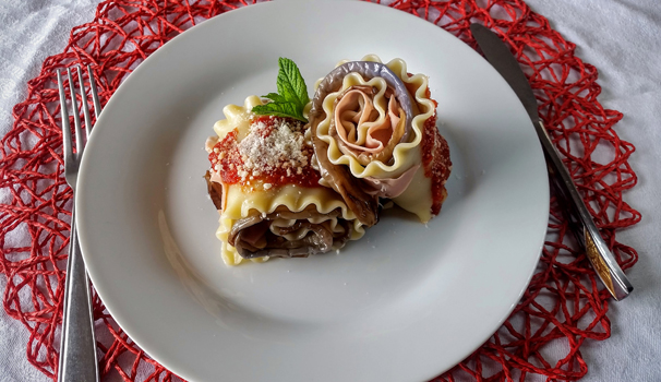 involtini di lasagne ricce.