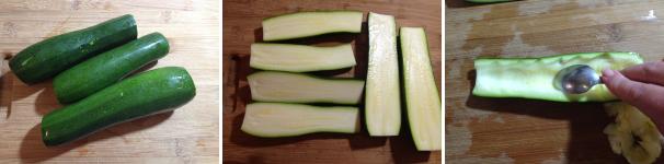 zucchine ripiene di ricotta e prosciutto cotto proc 1