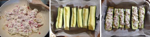 zucchine ripiene di ricotta e prosciutto cotto proc 3