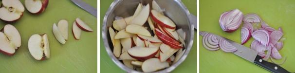 Crostone con tonno mele e cipolle ricetta