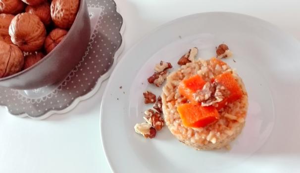 risotto integrale con zucca e noci