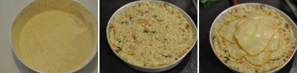 Sformato di riso, prosciutto, funghi e scamorza procedimento