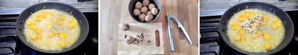 risotto integrale con zucca e noci preparazione