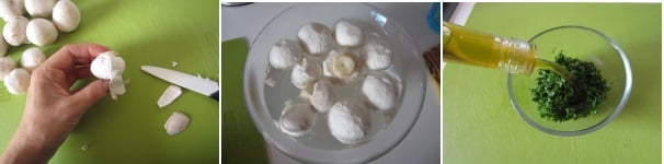 Carpaccio con funghi champignon freschi