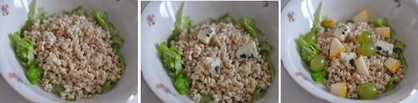 Insalata tiepida di orzo, pere e Roquefort ricetta facile
