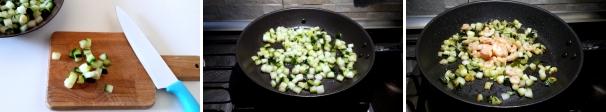 pasta zucchine e gamberetti preparazione