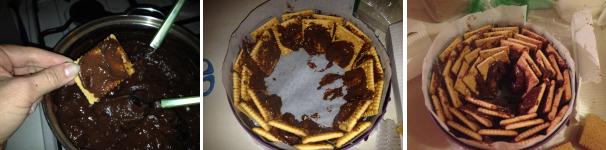 torta di biscotti e budino al cioccolato proc 2