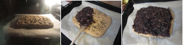 Focaccia integrale con cipolle, cavolo nero e nigella sativa procedimento