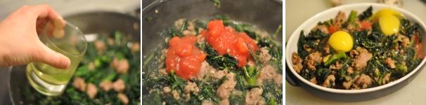 Salsiccia al forno con uova di quaglia e pomodoro come fare