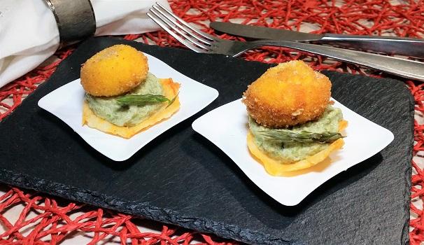tuorlo fritto su mousse di asparagi selvatici