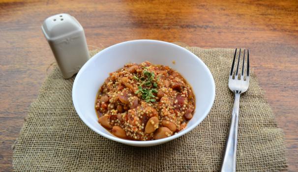 chili con quinoa foto fine procedimento