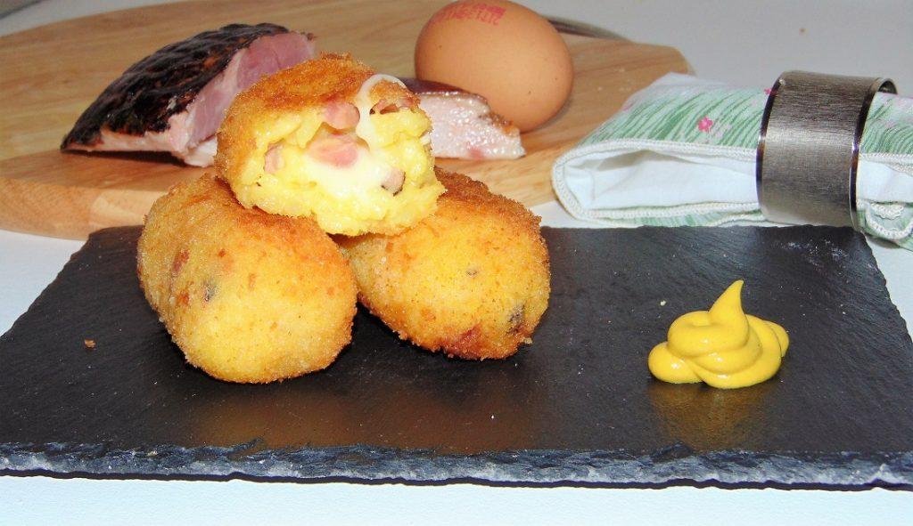crocchette di riso giallo con prosciutto affumicato