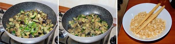 melanzane e zucchine in padella con crumble salato veloce