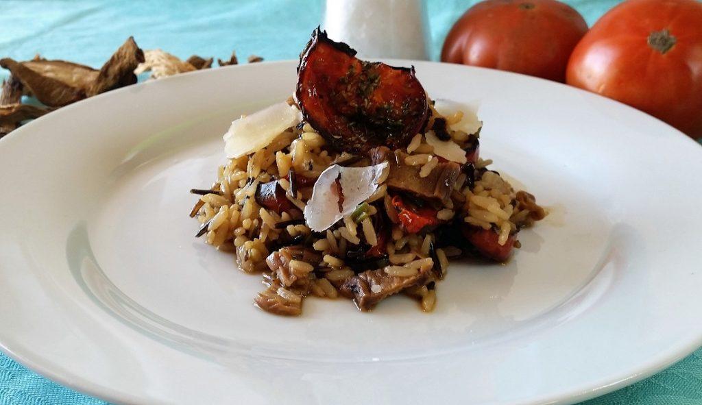 riso selvaggio con pomodori arrosto e grana padano